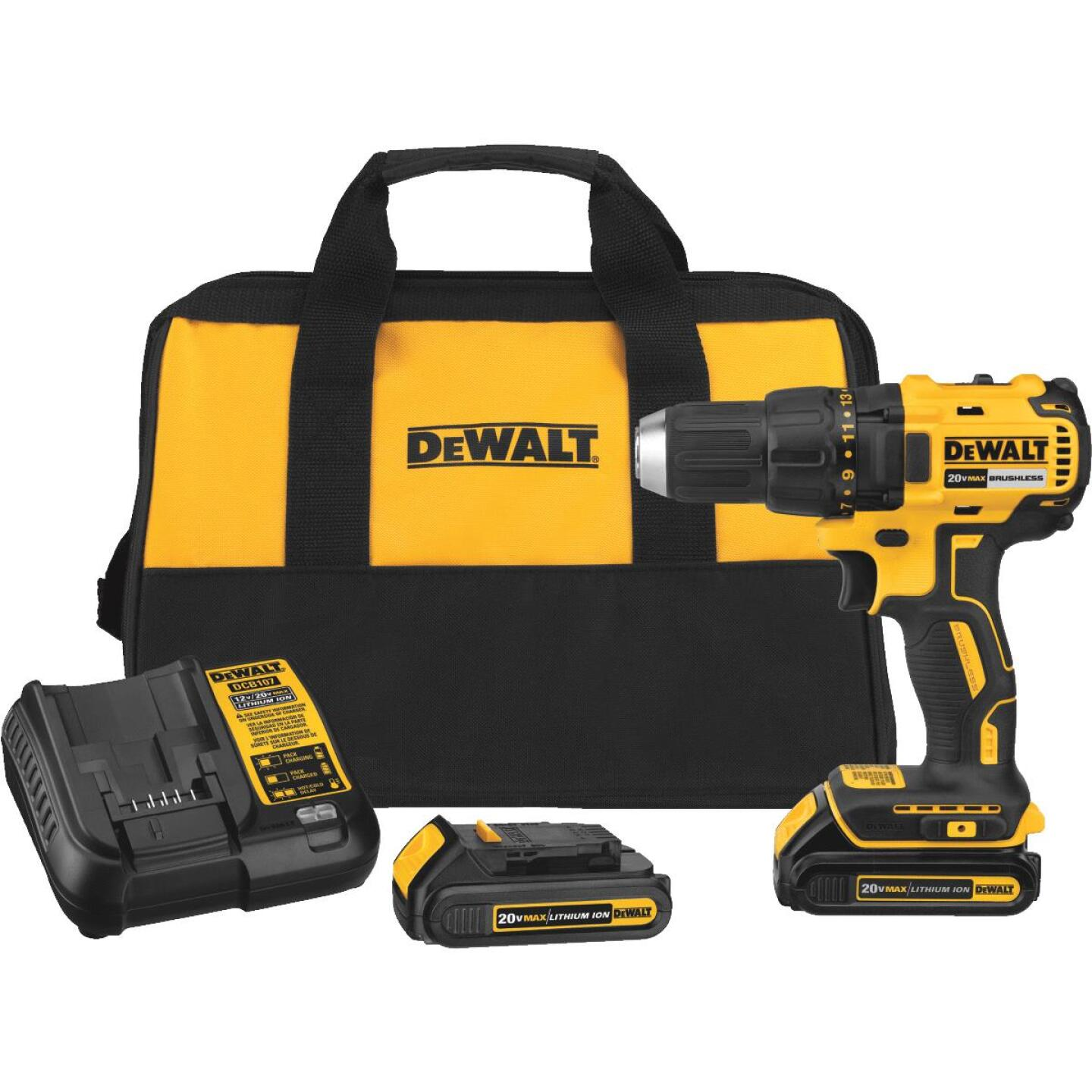 DeWalt 20 Volt MAX Lithium-Ion Brushless 1/2 In. Compact Cordless Drill Kit Image 1