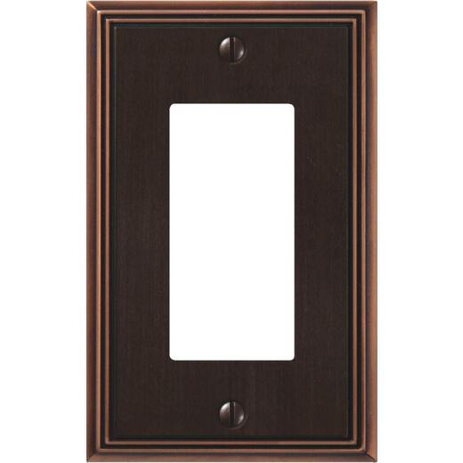 Amerelle Metro Line 1-Gang Cast Metal Rocker Decorator Wall Plate, Aged Bronze