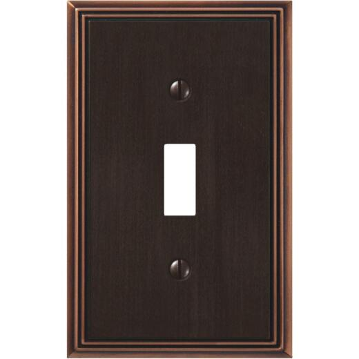 Amerelle Metro Line 1-Gang Cast Metal Toggle Switch Wall Plate, Aged Bronze