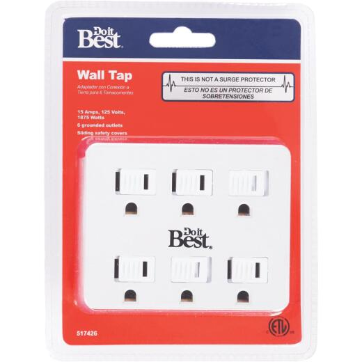 Do it Best White 15A 6-Outlet Tap