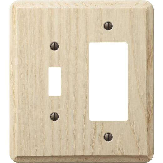Amerelle 2-Gang Solid Ash Single Toggle/Rocker Outlet Wall Plate, Unfinished Ash