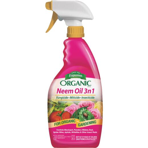 Espoma Organic 24 Oz. Ready To Use Trigger Spray Neem Oil 3n1 Fungicide, Miticide, Insecticide