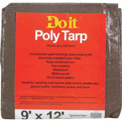 Do it Green/Brown Woven 9 Ft. x 12 Ft. Medium Duty Poly Tarp