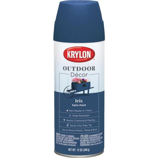 Krylon Outdoor Decor 12 Oz Satin Alkyd Spray Paint, Iris