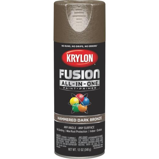 Krylon Fusion All-In-One Hammered Spray Paint & Primer, Dark Bronze