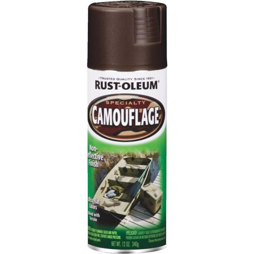Rust-Oleum Camouflage 12 Oz. Flat Spray Paint, Earth Brown