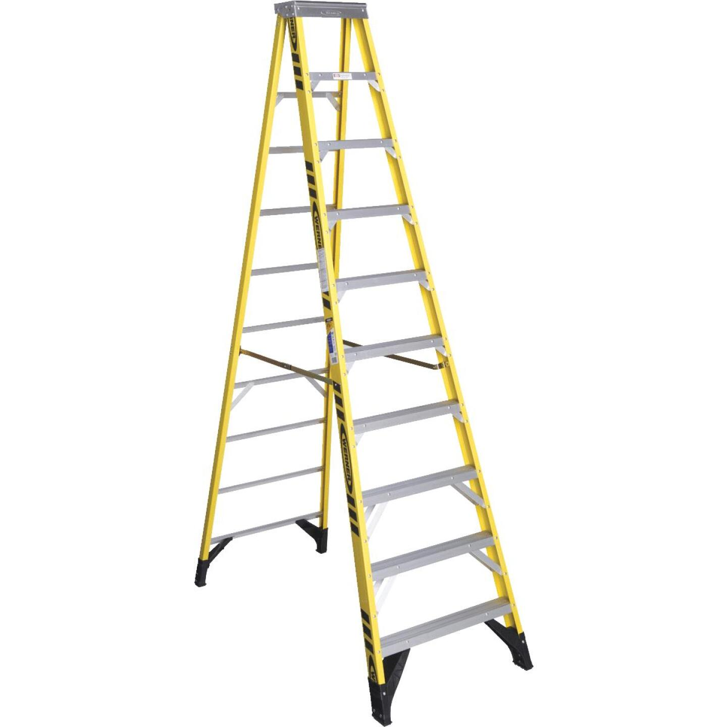 Werner 10 Ft. Fiberglass Step Ladder with 375 Lb. Load Capacity Type IAA Ladder Rating Image 1